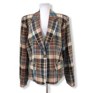 Bloomingdale's Blazer Jacket 100% Linen Plaid 16